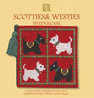 Scotties and Westies Needle Case Cross Stitch Kit